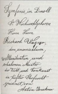 Handschriftliche Widmung Bruckners an Wagner
