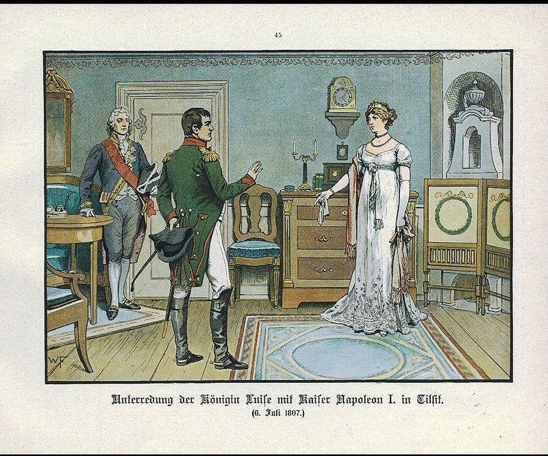 Luise mit Napoleon in Tilsit