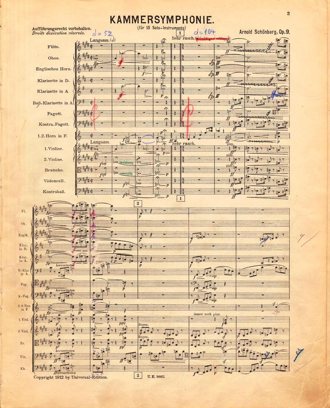 Schönbergs Handexemplar der Partitur