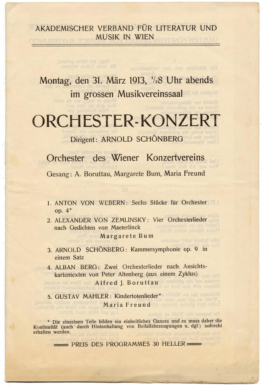 Programm der Aufführung 1913